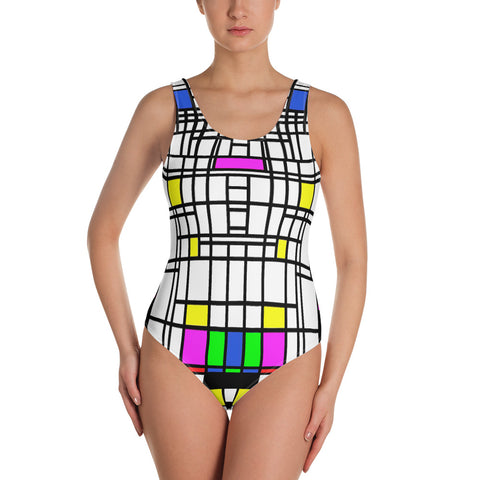 Mondrian style One-Piece Swimsuit