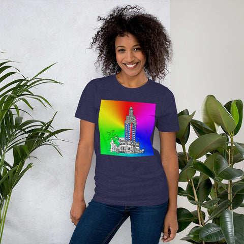 Colorful Miami Freedom Tower Short-Sleeve Unisex T-Shirt