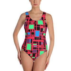 Mondrian style red one-piece swimsuit