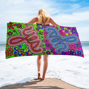 colorful yes beach towel