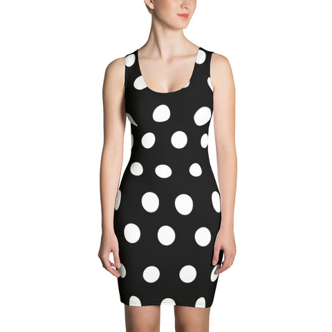 black and white polka dot Sublimation Cut & Sew Dress