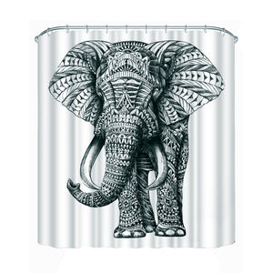 Elephant Bathroom Fabric Shower Curtain