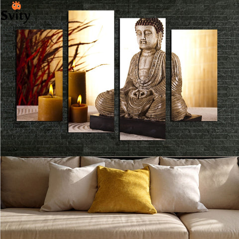 Wall art deco Canvas Painting Antique Buddha in 4 Panels