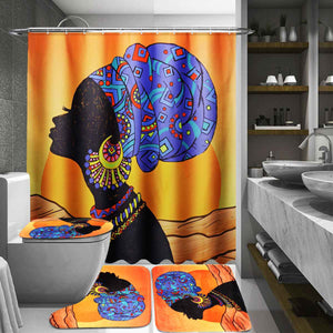 African Baotou Woman Shower Curtain and Toilet Rug Mat Set
