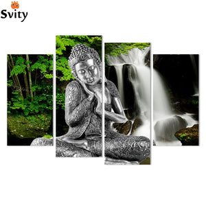 Printed Lord Buddha Painting Canvas in 4 Panels