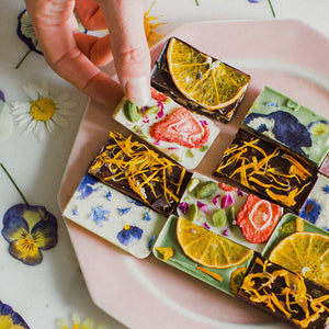 Flower Pressed Chocolate Tiles- 4 boxes of one dozen
