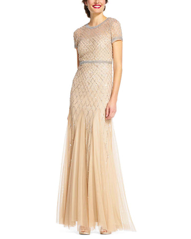Adrianna Papell Cap Sleeve Beaded Gown in Champagne