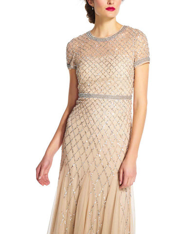 Adrianna Papell Beaded Cap Sleeve Dress