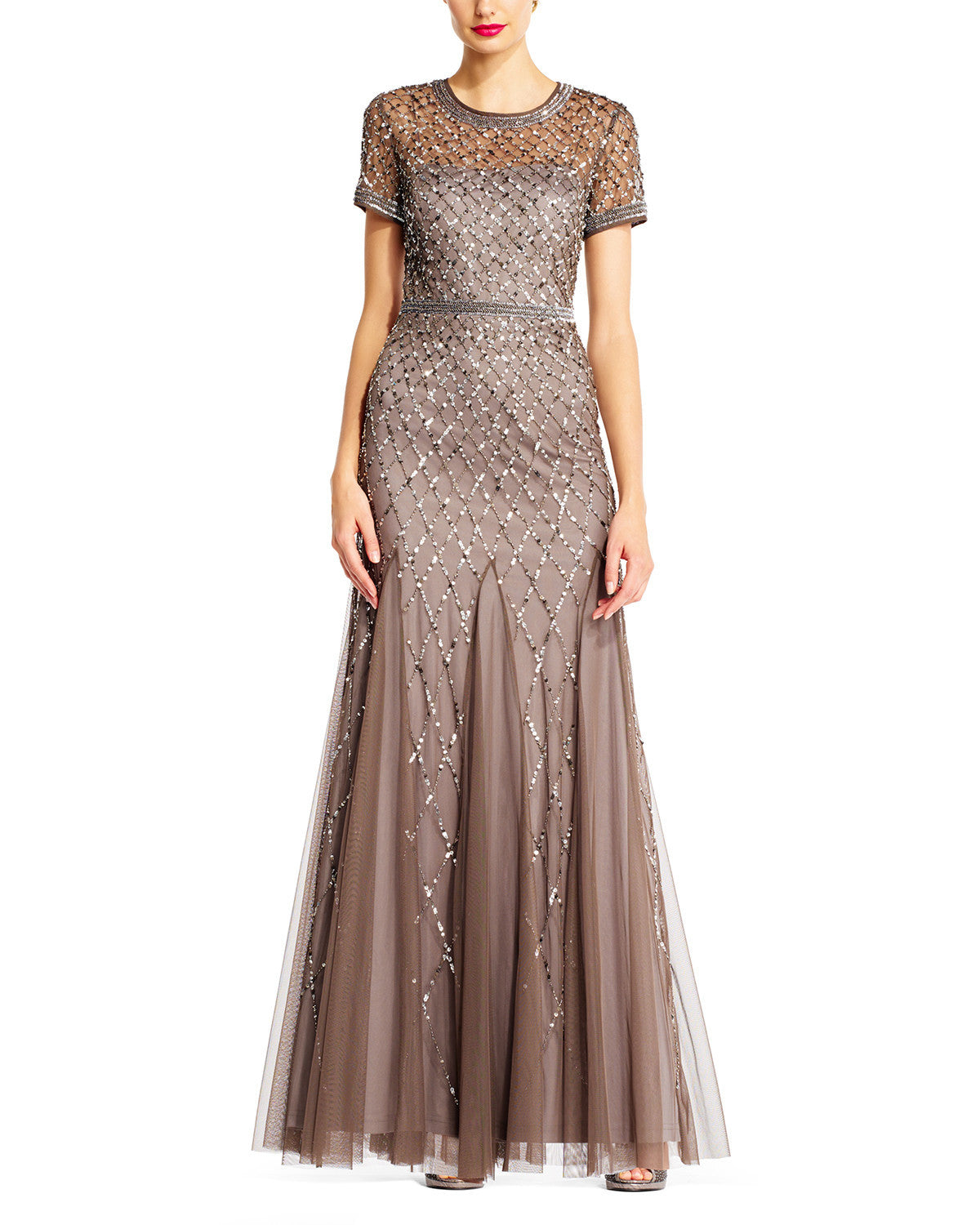 Adrianna Papell Cap Sleeve Beaded Gown in Lead Bridesmaid Dress ...