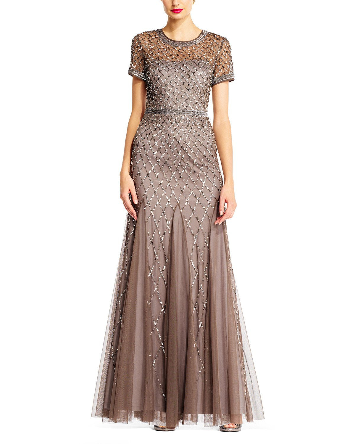 Adrianna Papell Cap Sleeve Beaded Gown in Lead - Sample