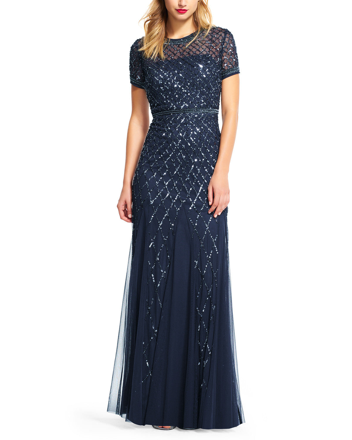 Adrianna Papell Cap Sleeve Beaded Gown in Navy Bridesmaid Dress ...