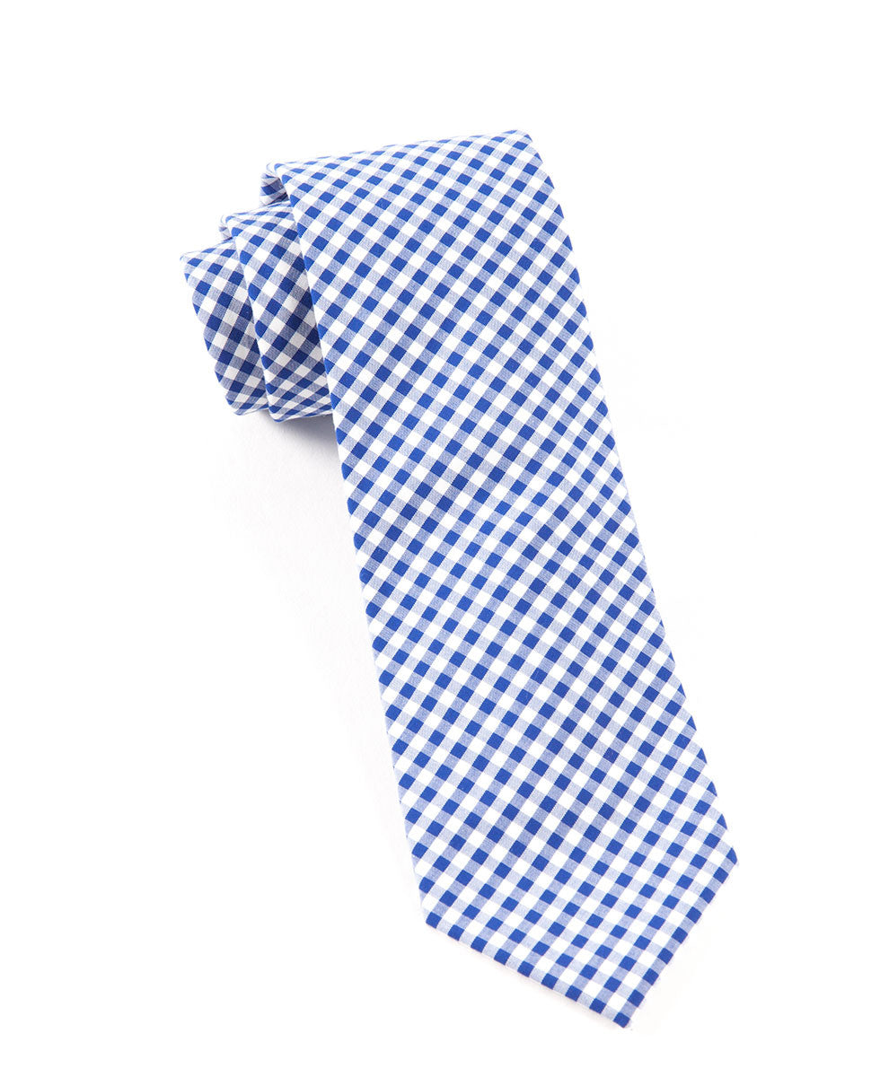 The Tie Bar Royal Blue Novel Gingham Necktie
