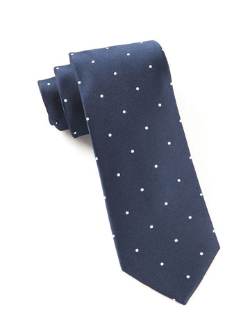The Tie Bar Classic Navy Satin Dot Necktie