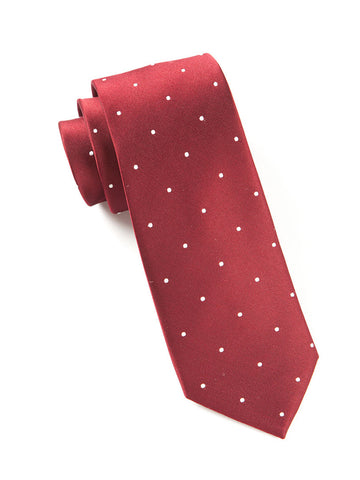 The Tie Bar Burgundy Satin Dot Necktie