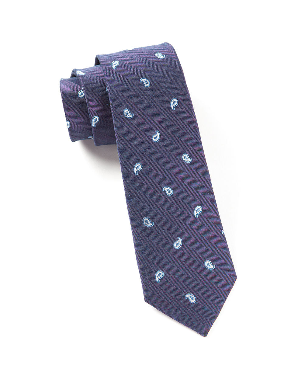 The Tie Bar Eggplant Subtle Paisley Necktie
