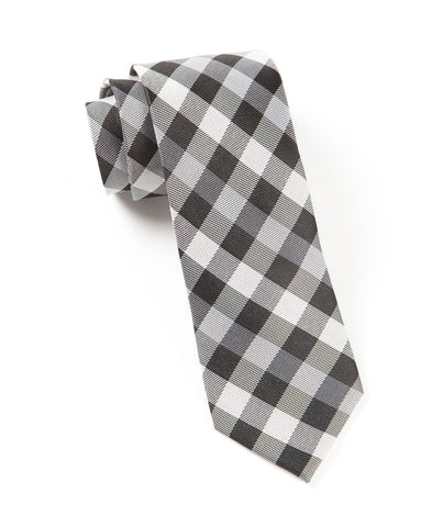 The Tie Bar Black Gingham Fusion Necktie