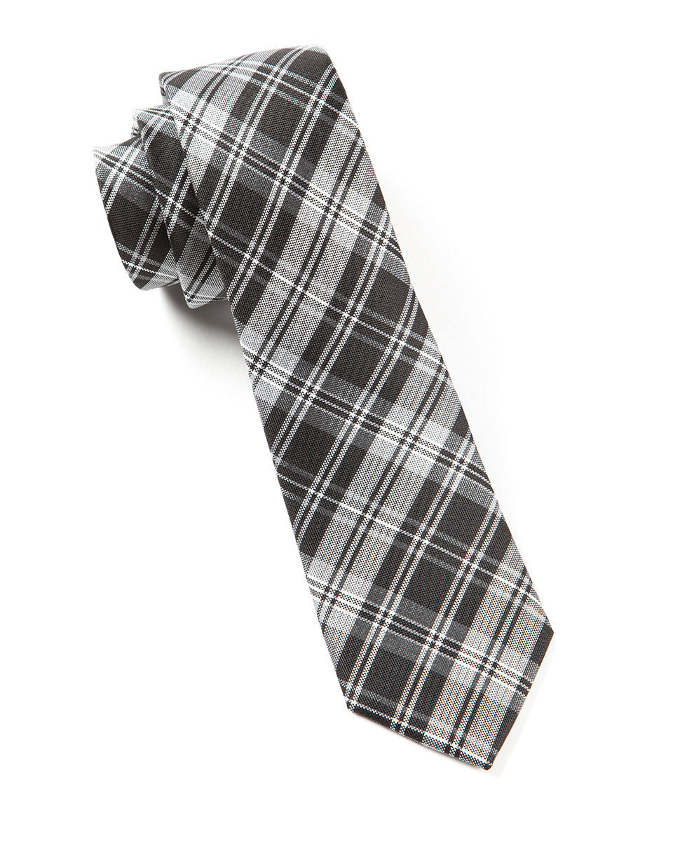 The Tie Bar Black Narrative Plaid Necktie