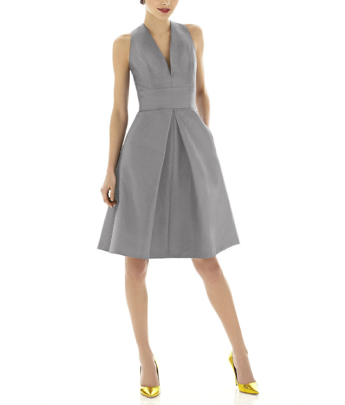 Size 12 Quarry Dessy Womens Cocktail Length V-Neck Dupioni Dress with Inset Waistband