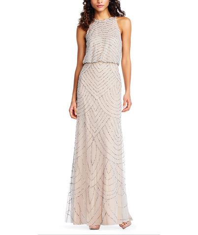 Adrianna Papell Art Deco Beaded Blouson dress With Halter Neckline in Silver Nude Beading- Front