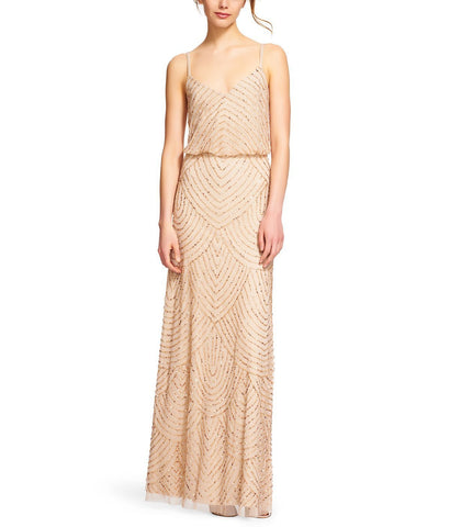 Adrianna Papell Art Deco Blouson Gown in Champagne Gold Beading - Front