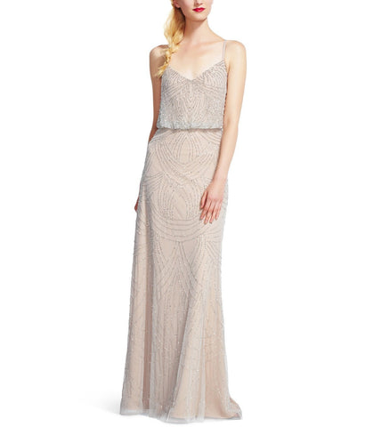 Adrianna Papell Beaded Blouson Gown in Silver Nude Beading- Front