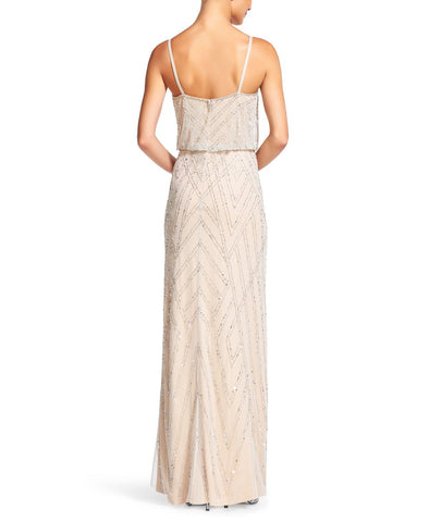 Adrianna Papell Diamond Beaded Blouson Gown