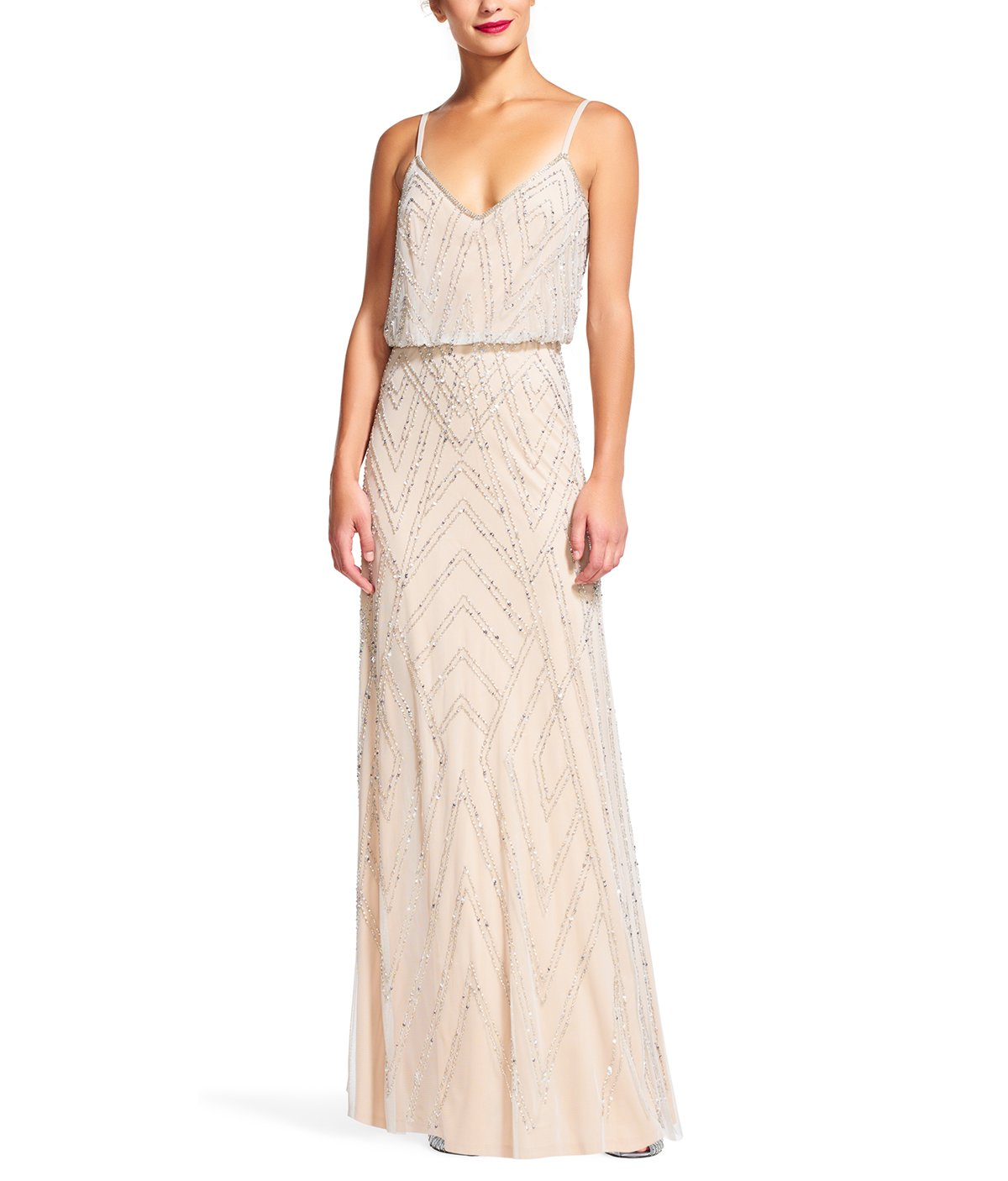 717ea7acdec Adrianna Papell Diamond Beaded Blouson Gown Bridesmaid Dress