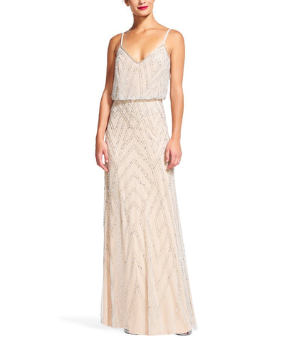 Adrianna Papell Diamond Beaded Blouson Gown in Silver Nude Beading- Front