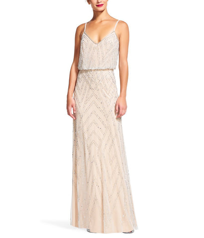 Adrianna Papell Diamond Beaded Blouson Gown in Silver Nude