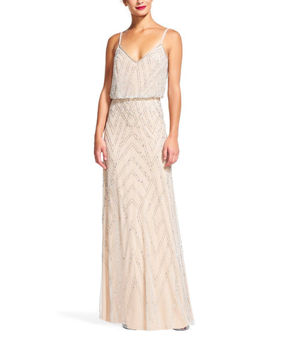 Adrianna Papell Diamond Beaded Blouson Gown - Sample
