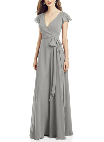 After Six Bridesmaid Dress Style 6817 in Chelsea Gray - Front