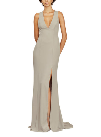 Amsale Annalise Bridesmaid Dress in Stone - Front