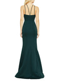 Amsale Carter Bridesmaid Dress in Hunter - Back
