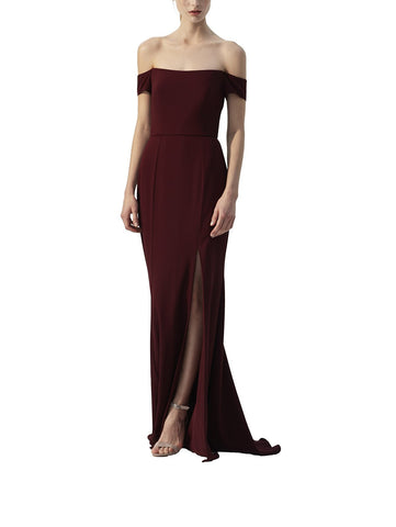 Amsale Eden Bridesmaid Dress in Ruby - Front