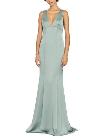 Amsale Leif Bridesmaid Dress in Jade - Front