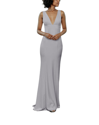 Amsale Reyna Bridesmaid Dress in Dove - Front