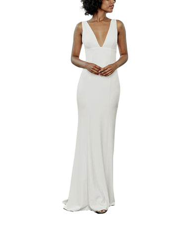 Amsale Reyna Bridesmaid Dress in Ivory - Front