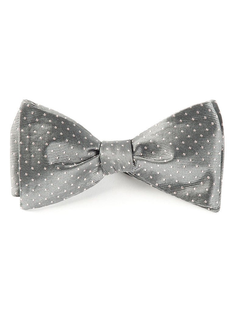 The Tie Bar Gray Mini Dots Bow Tie