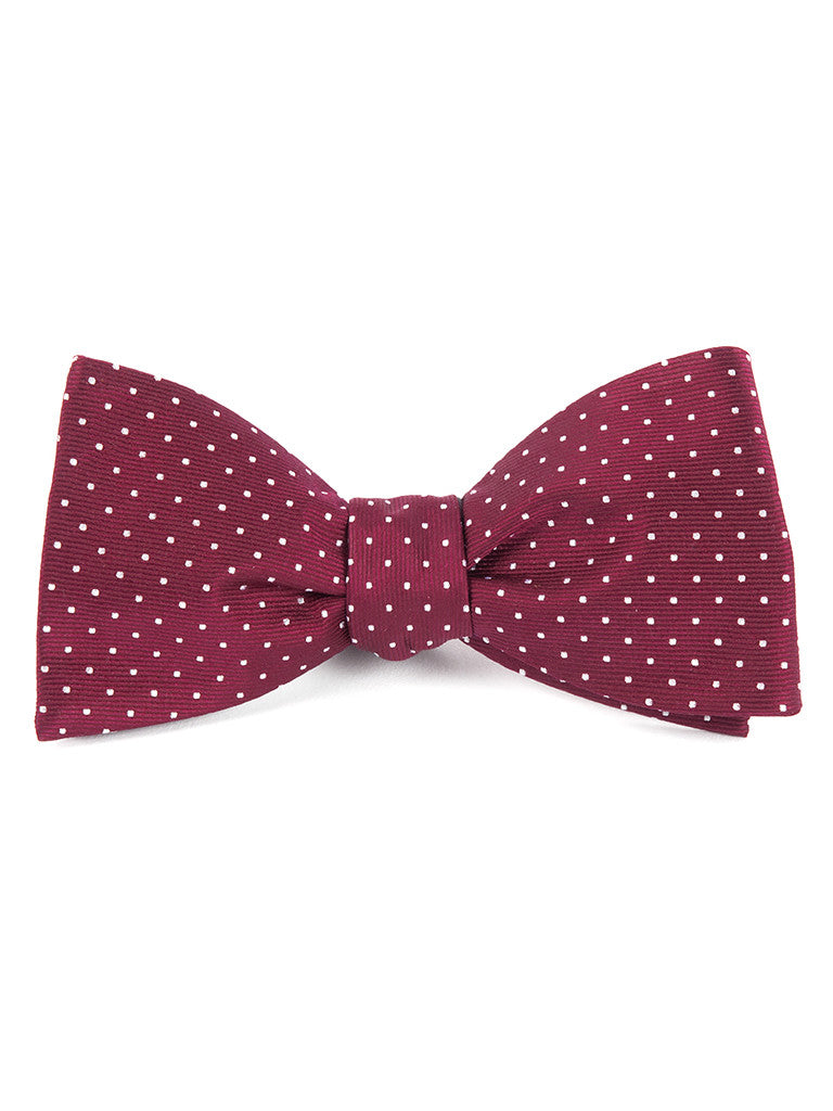 The Tie Bar Burgundy Mini Dots Bow Tie