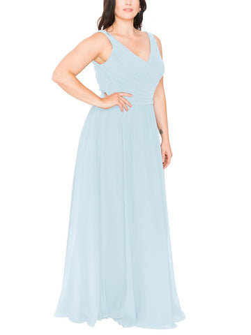 Brideside Blair Bridesmaid Dress in Misty Blue - Front