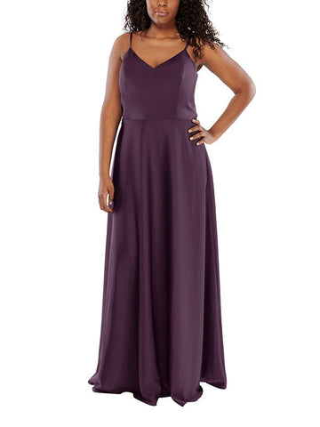 Aura Callista Bridesmaid Dress in Aubergine - Front