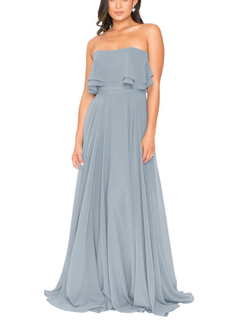 Brideside Cameron Bridesmaid Dress in Sky - Front