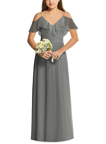 Dessy Junior Bridesmaid Dress Style JR548 in Charcoal Gray - Front