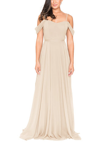 Brideside Drew Bridesmaid Dress in Champagne - Front