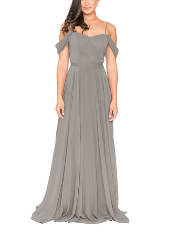 Brideside Drew Bridesmaid Dress in Earl Grey - Front