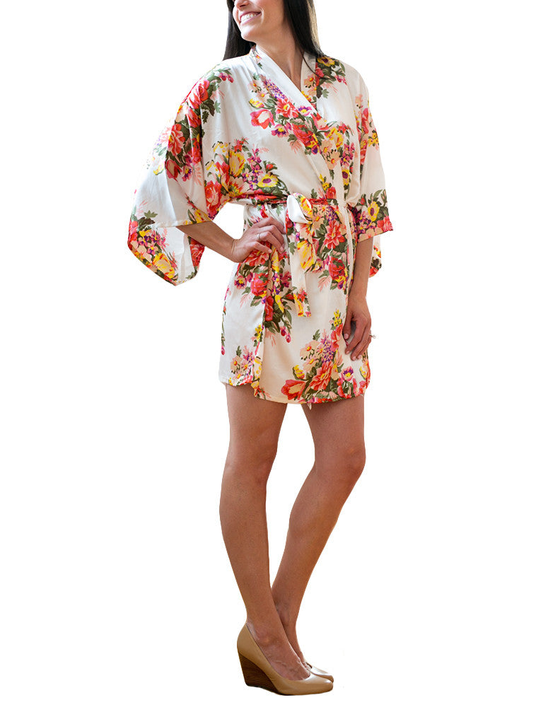 Ivory Satin Floral Robe