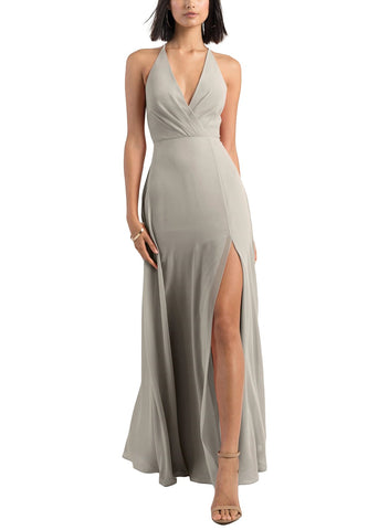Jenny Yoo Bryce Bridesmaid Dress in Earl Grey - Front