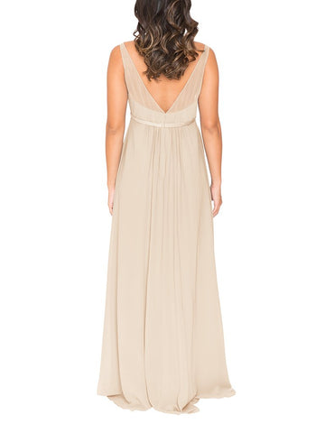fd700a6d46 ... Brideside Jessie Maternity Bridesmaid Dress in Champagne - Front