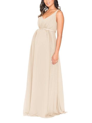 Brideside Jessie Maternity Bridesmaid Dress in Champagne - Front