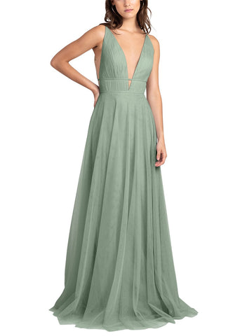 Jenny Yoo Kaelyn Bridesmaid Dress in Sea Glass - Front